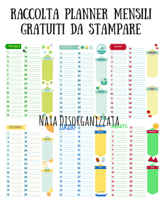 Super Nata disorganizzata: Refill gratuiti per l'agenda: planner mensili  MO72