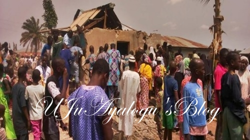 See the 'Evil' Man Caught with Human Parts in Ilorin as Angry Residents Demolish His House (Photos)