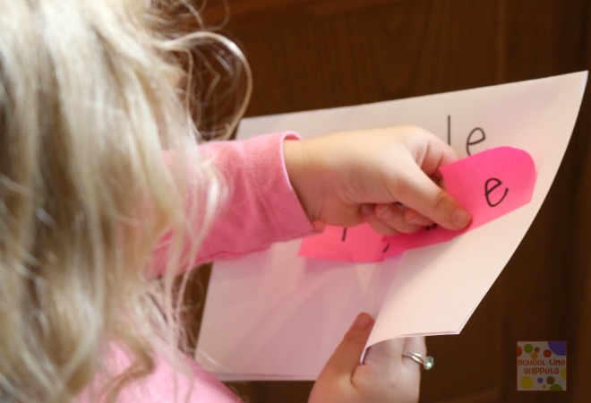 name game for Kids with post-it notes
