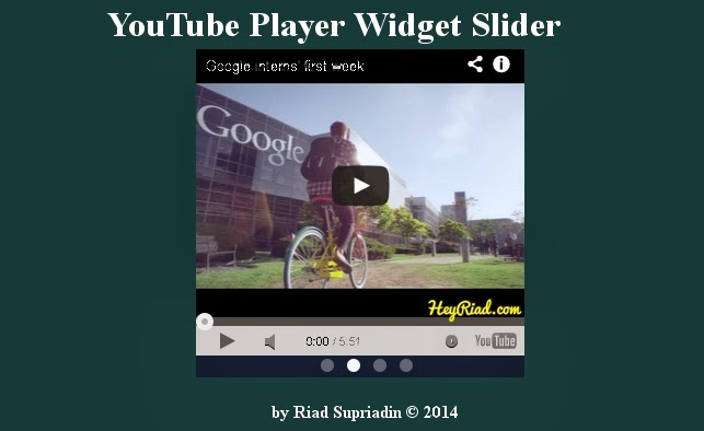 YouTube player widget slider on blog