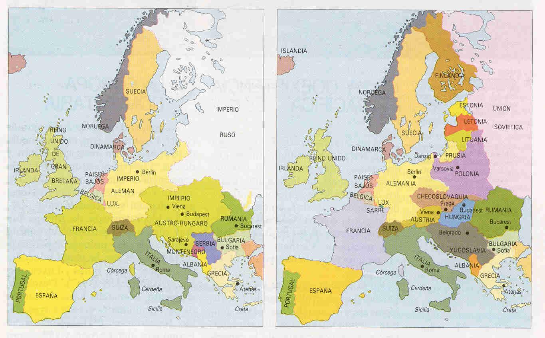 Resultado de imagen de europa antes y despues de la primera guerra mundial