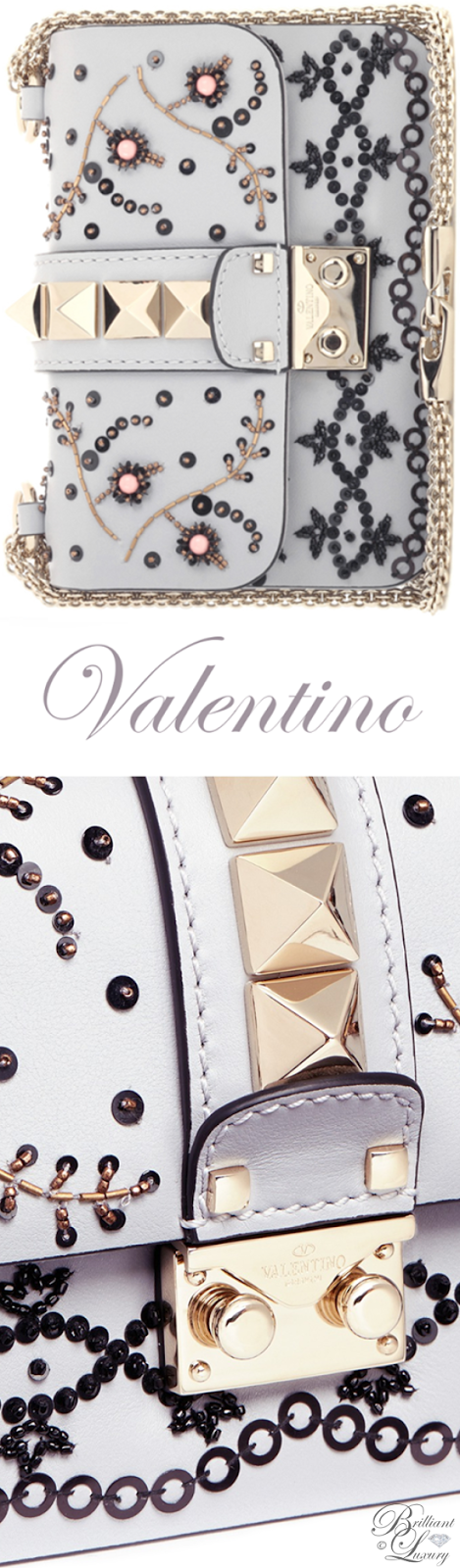 Brilliant Luxury ♦ Valentino Rockstud Lock Mini Beaded Leather Chain Bag