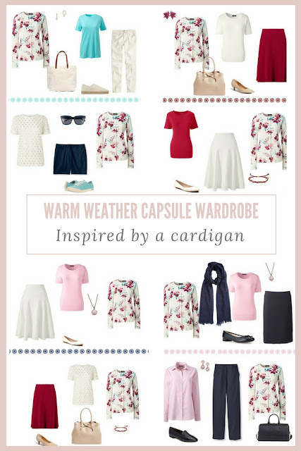 How to build a Warm-Weather Capsule Wardrobe based on a Burgundy Floral Cardigan