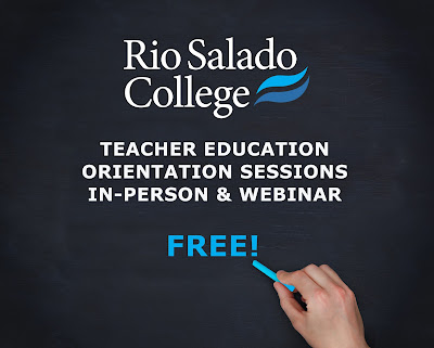 image of a hand writing on a chalkboard.  Text: Rio Salado College Teacher Education Orieintation Sessions in-person and webinar.  Free!