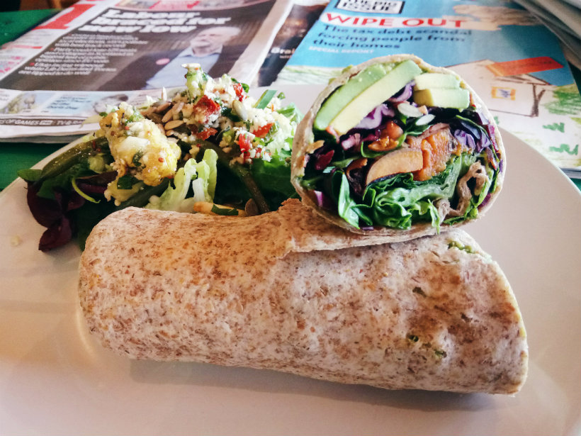 Sweet potato and avocado wrap
