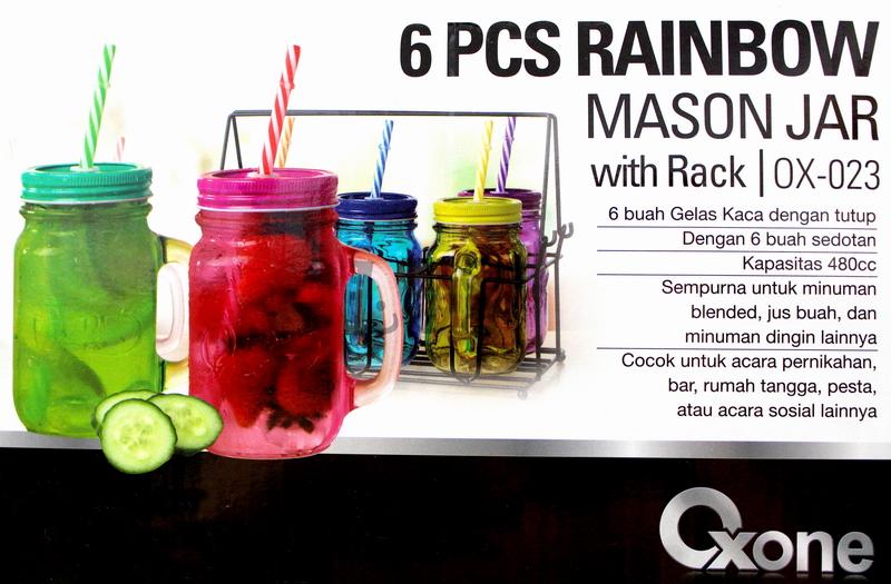 OX-23 6Pcs Gelas Oxone Rainbow Mason Mug