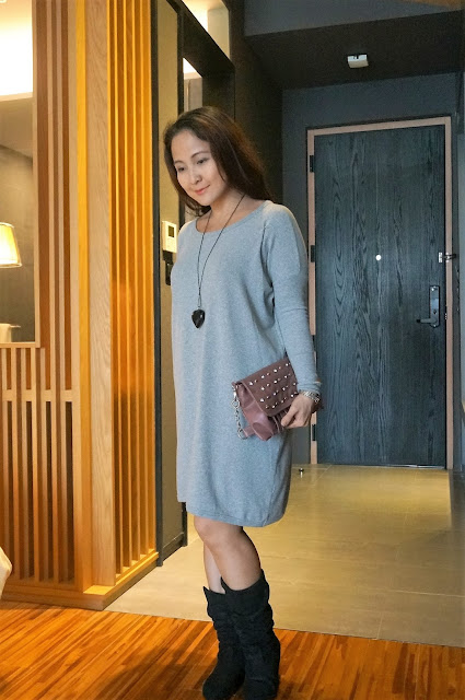 Gray shirtdress