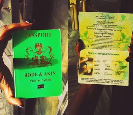nigerian passport for wedding invitation card