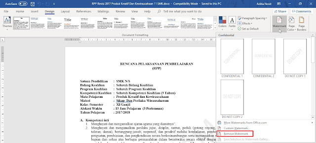 Cara Menghilangkan Watermark di Microsoft Word 2013