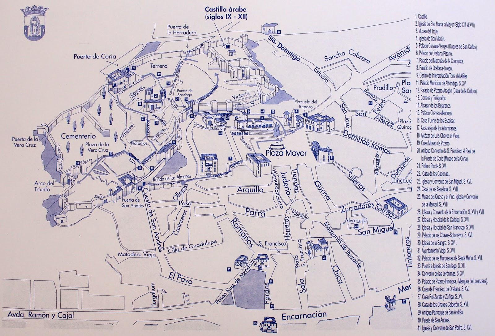 Mapa turístico de Trujillo.