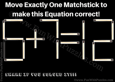 Numbers Matchsticks Puzzle for Kids Answer