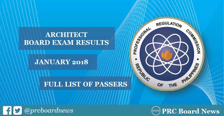 OFFICIAL RESULTS: January 2018 Architect board exam ALE passers list