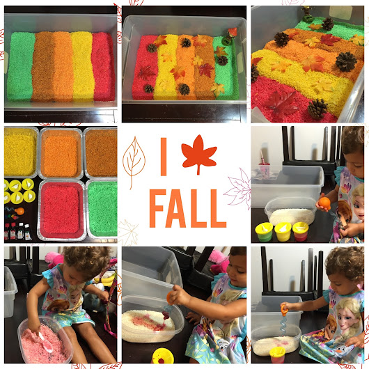 Falling For Fall!! Fall Leaves Colored & Scented Rice Sensory Bin!