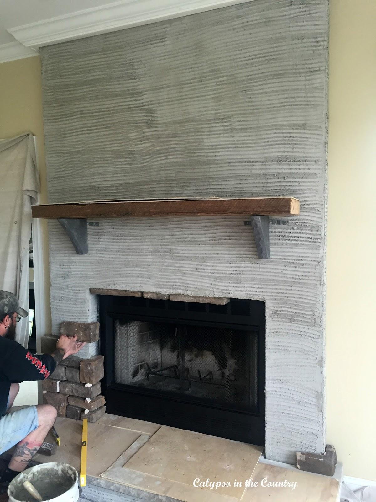 Stone Fireplace in progress