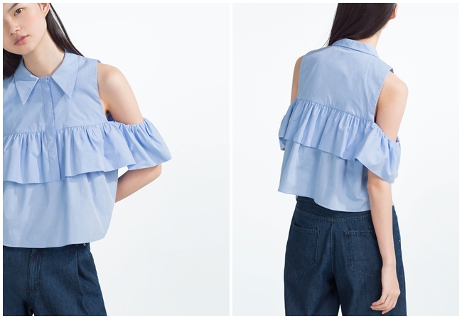 2016 Spring Zara Off Shoulder Ruffles Top