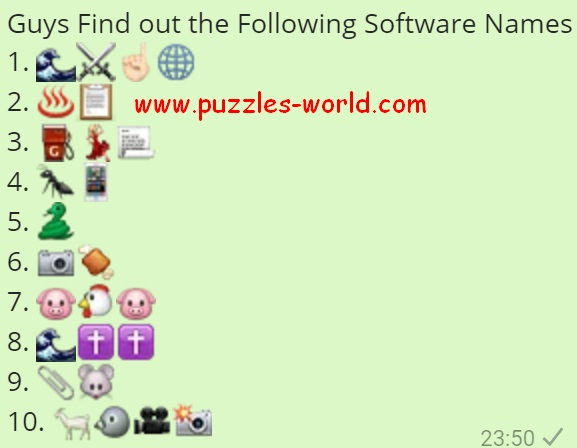 Find out the Following Software Names