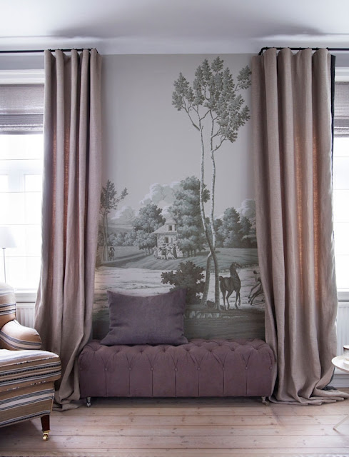 On-Trend Panoramic Wall Mural (Installation) : Traditional wallpaper / patterned / fabric look / hand-painted LA CHASSE DE COMPIEGNE  ...