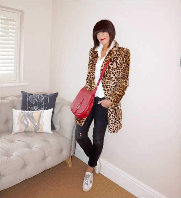 My Midlife Fashion, Zara faux fur leopard print coat, village england sway across body bag, baukjen coco shirt, zara distressed cigarette length jeans, golden goose superstar trainers, charlotte tilbury red carpet red lipstick