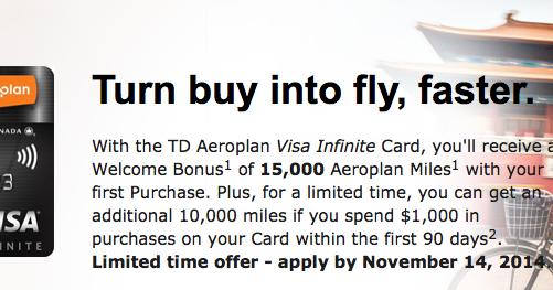 Td Visa Infinite >> Rewards Canada: TD Aeroplan Visa Infinite Card - 25,000 ...
