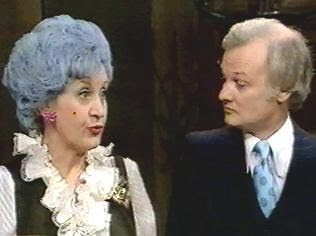 Mollie Sugden and John Inman