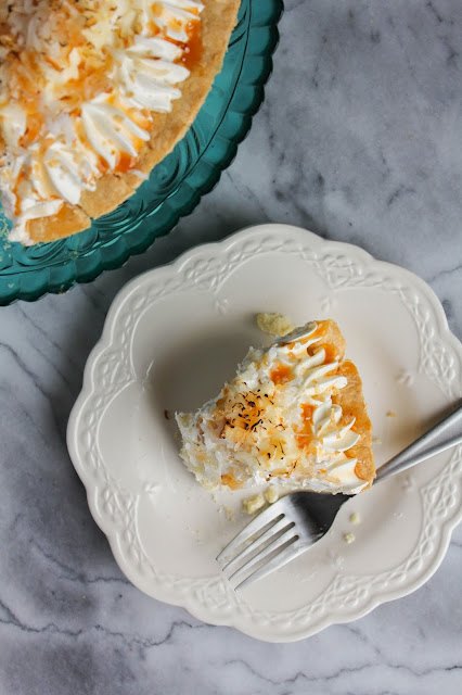 Toasted Coconut Cream Pie with Caramel Drizzle | The Chef Next Door