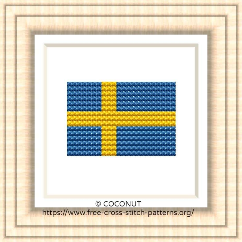 NATIONAL FLAG OF SWEDEN CROSS STITCH CHART