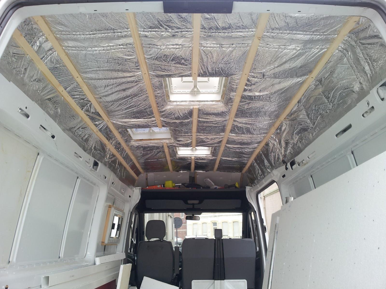 am nagement d 39 un sprinter en camping car isolation du toit. Black Bedroom Furniture Sets. Home Design Ideas