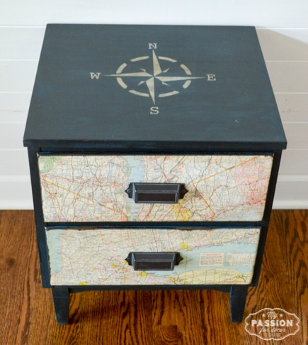 Nightstand Makeover with Compass Stencil