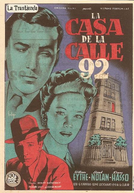 Programa de Cine - La Casa de la Calle 92 - William Eythe - Lloyd Nolan