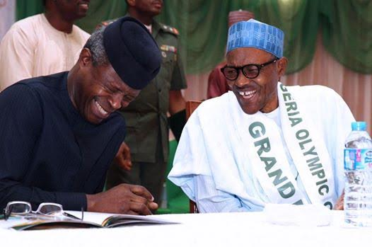 Image result for osinbajo and buhari laughing