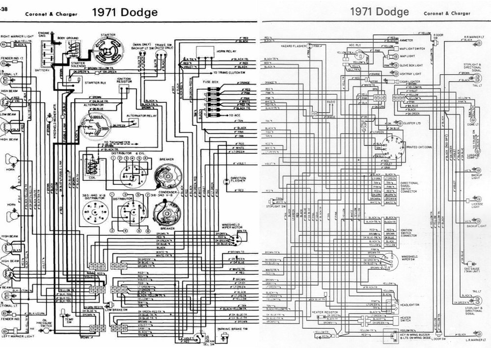 Dodge+Coronet+and+Charger+1971+Complete+Wiring+Diagram dodge coronet and charger 1971 complete wiring diagram all about 71 mustang wiring diagram at bayanpartner.co