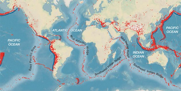 The distributions of epicentres for all earthquakes of at least 5.0 magnitude over a 10 year period