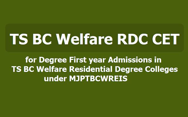 MJP TS BC Welfare RDC CET 2019