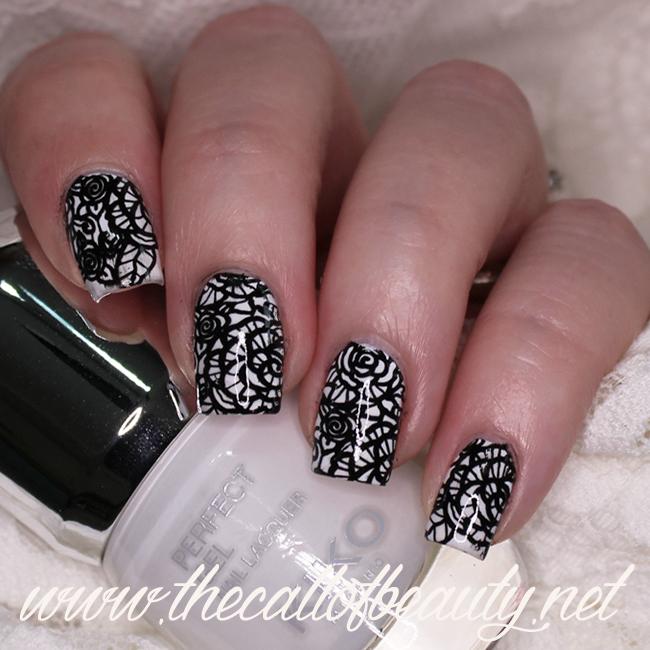 Black & White Lace Nail Art