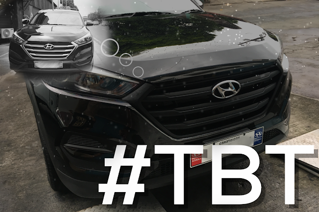 Hyundai Tucson before and after vinyl wrapping of grills