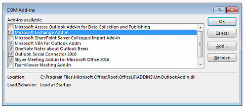 Installed add-ins in Outlook client