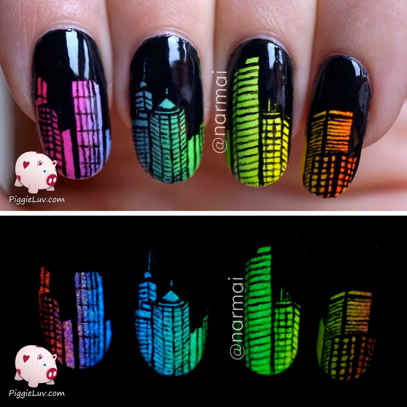 PiggieLuv: Glow in the dark city skyline nail art
