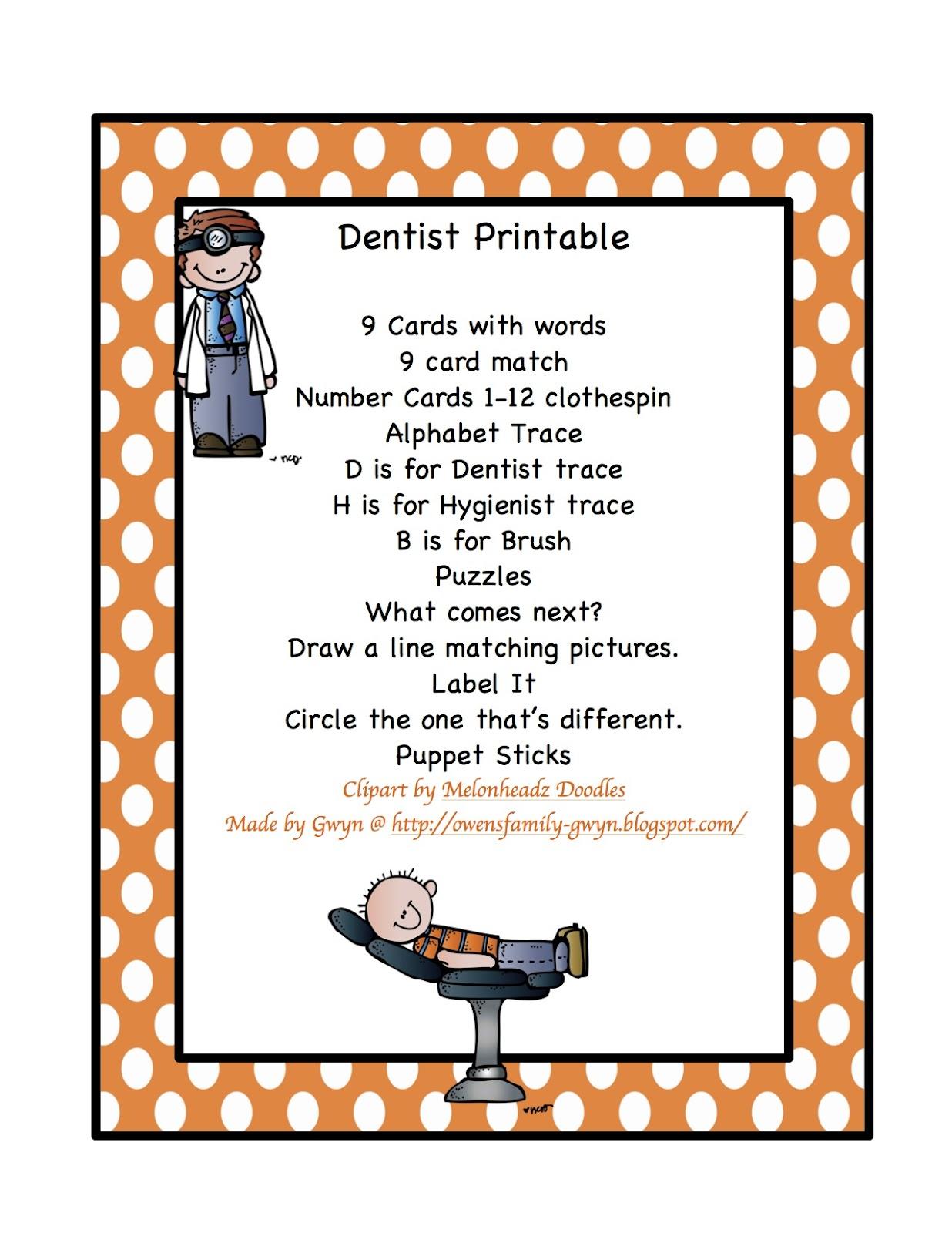 New Dentist Printable Preschool Printables