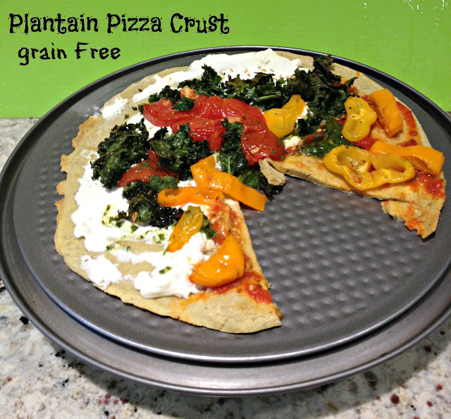 Plantain pizza with roasted vegetables