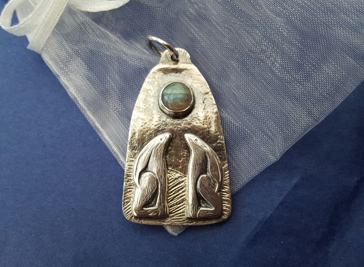 Silver Hares Pendant by Leisa Howes Jewellery