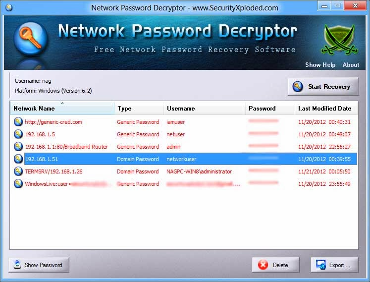 free hack tools network password decryptor v6 5 windows network password recovery tool. Black Bedroom Furniture Sets. Home Design Ideas