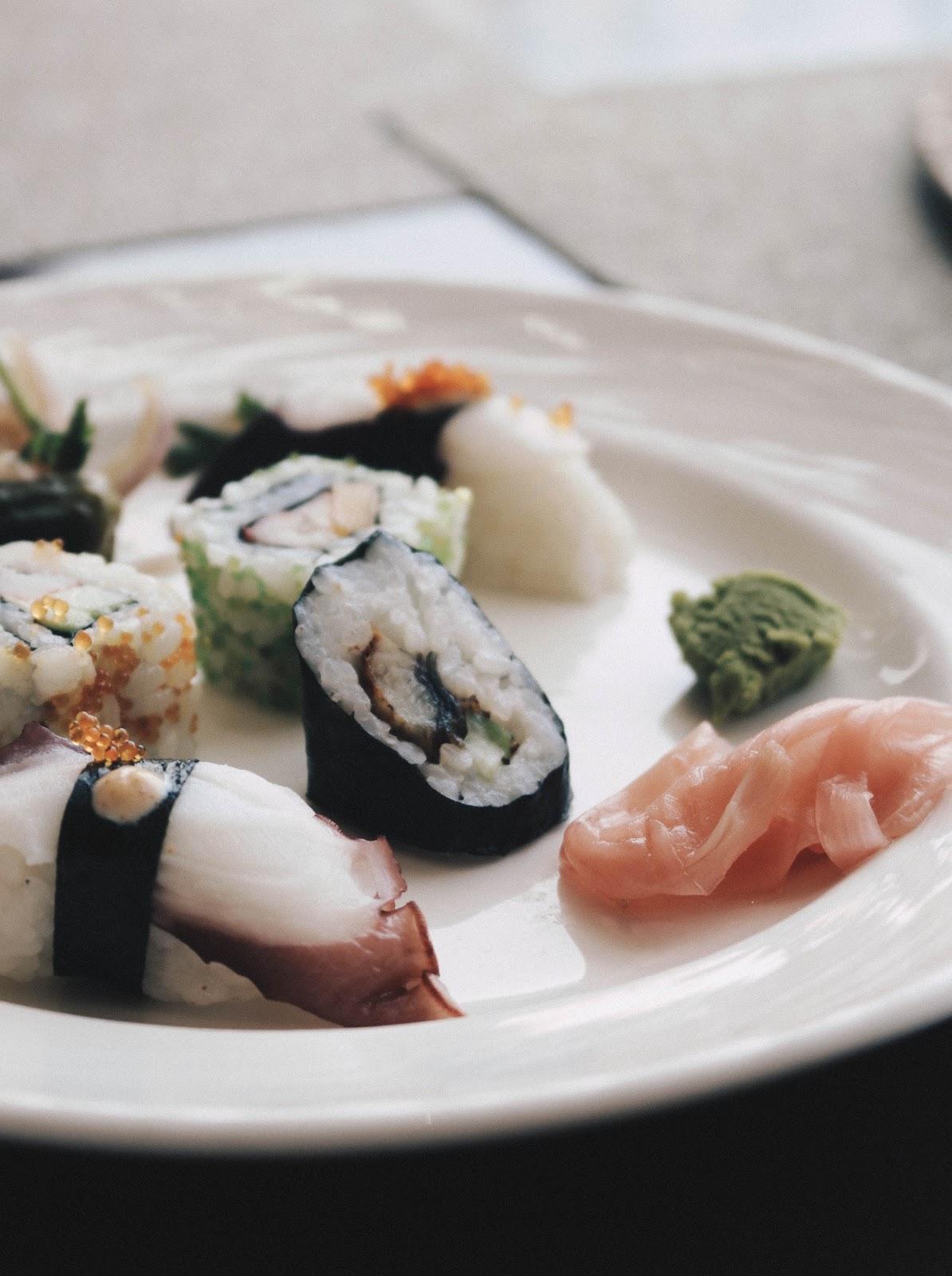 california maki and octopus sushi