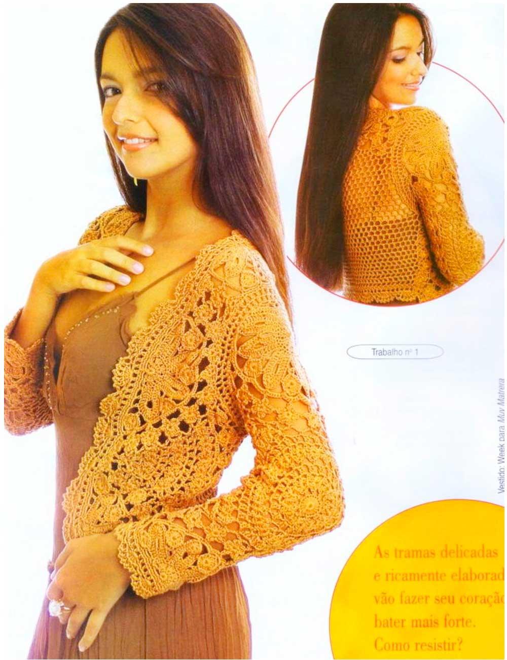 chaqueta con lazo o cinta patrón crochet