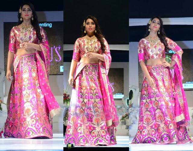 shriya in silk lehenga - Shriya Saran in Pithani Silk Lehenga. wedding wows fashion show