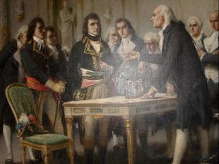 retrato de alessandro volta explicando o principio da coluna elétrica  para Napoleao em 1801