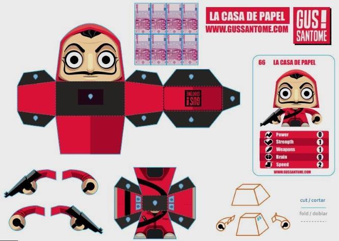 PAPERMAU: Money Heist - La Casa De Papel Mini Paper Toy - by Gus Santome