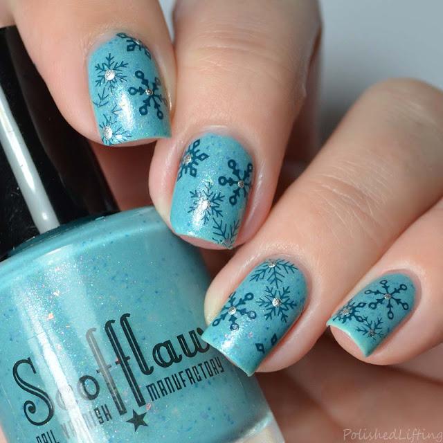 snowflake stamped nail art