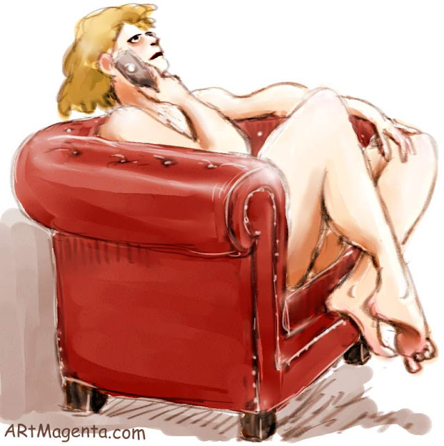 The Chesterfield armchair is a figure drawing by artist and illustrator Artmagenta