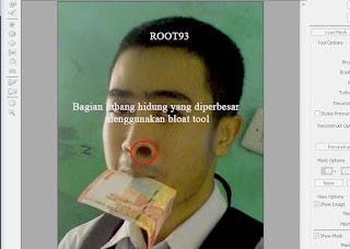 Foto yang dijelekan menggunakan Bloat Tool