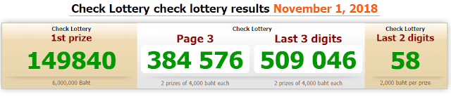 Thai Lottery Result For 01-11-2018